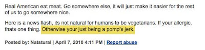 Comment refers to someone as a pomp's jerk instead of a pompous jerk