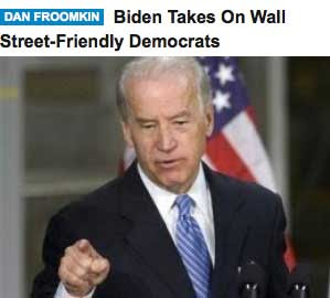 HuffPo headline reading Biden Takes On Wall Street-Friendly Democrats, but the line break is between Wall and Street