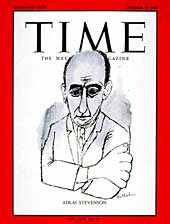 Time magazine cover with expressionist line drawing of Stevenson
