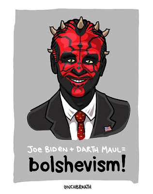 Joe Biden as the Darth Maul with Bolshevism label beneath