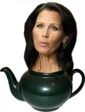 Michelle Bachmann's head emanating from a teapot