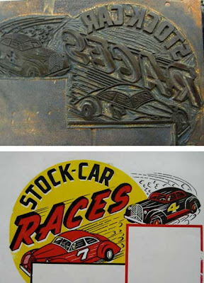 Stock Car Races small poster with plate