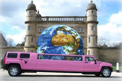 Pink Hummer stretch limo with an Earth ball coming out of the sun roof