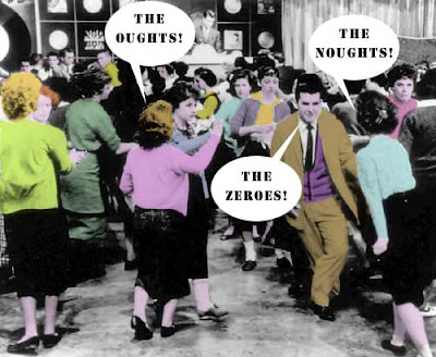 American Bandstand teens dancing with word balloons The Noughts! The Oughts! The Zeroes!