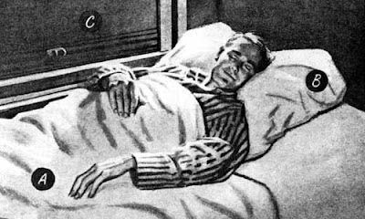 Vintage black and white illustration of a man in striped pajamas sleeping peacefully