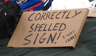 Correctly spelled sign, marker on corrugated cardboard
