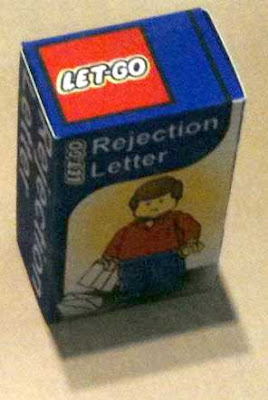 Lego man receiving a rejection letter