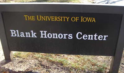 The Blank Honors Center sign at the University of Iowa