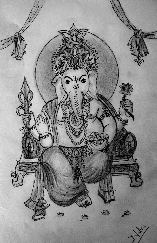 Color pencil sketching of lord ganesh