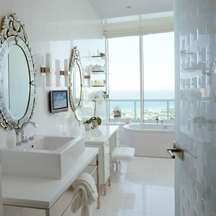 oncedailychic Venetian mirrors in the bathroom