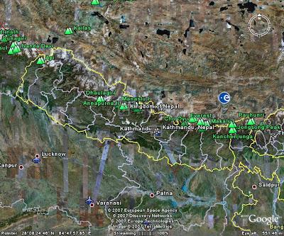 Maps of Nepal: Nepal Map Through Google Earth