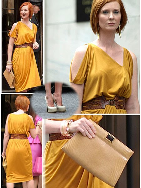 miranda hobbes in mustard colored bottega veneta dress vintage belt christian louboutin pumps. Black Bedroom Furniture Sets. Home Design Ideas