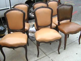 6 Antique Dark Wood Brown Vinyl Dining Chairs Sold
