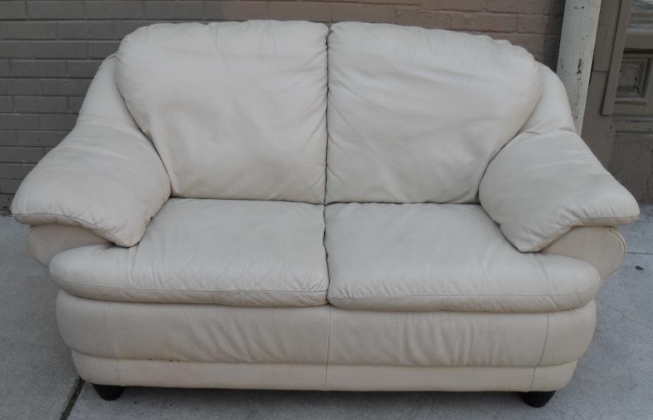 Uhuru Furniture Collectibles Cream Colored Leather Sofa Set Sold