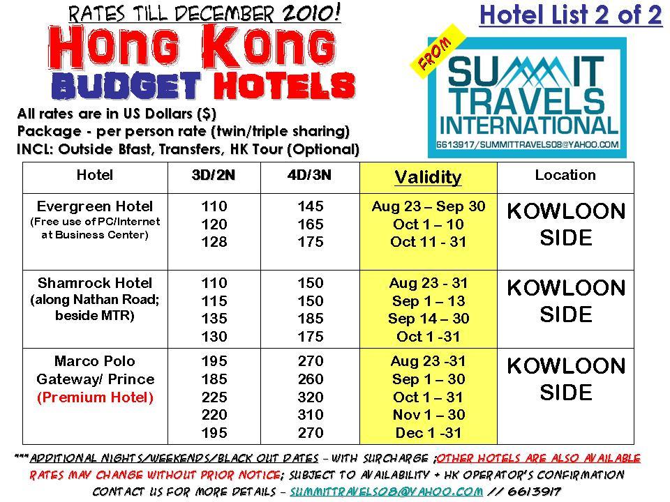 Cheap Travel Package Hong Kong Budget Hotels Till Dec 2010