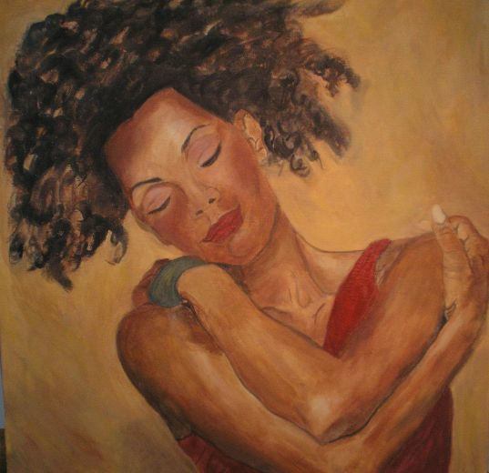 Woman embracing herself showing self-love