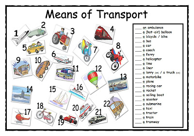 Number Names Worksheets paragraph on means of transport : Means of transport - English Subject Area