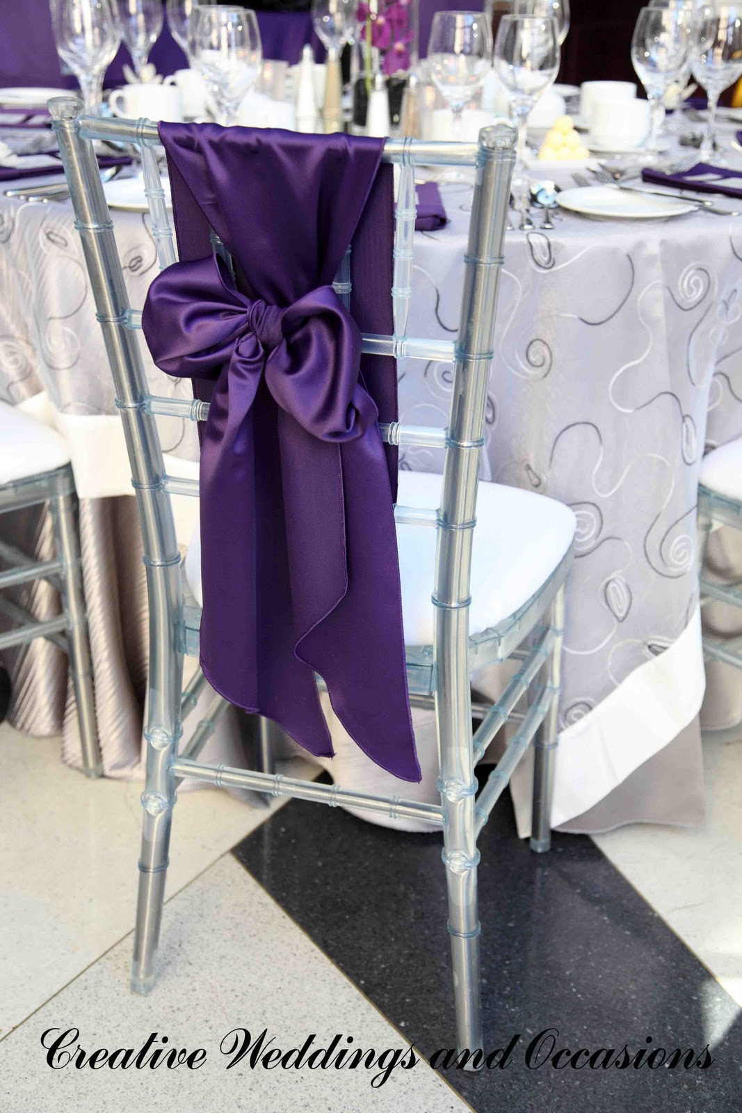 purple chair sashes for weddings gold office creative and occasions blog real wedding  eric