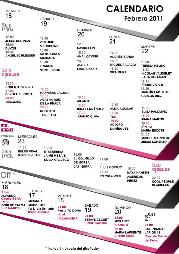 CIBELES MADRID FASHION WEEK. CALENDARIO FEBRERO 2011.