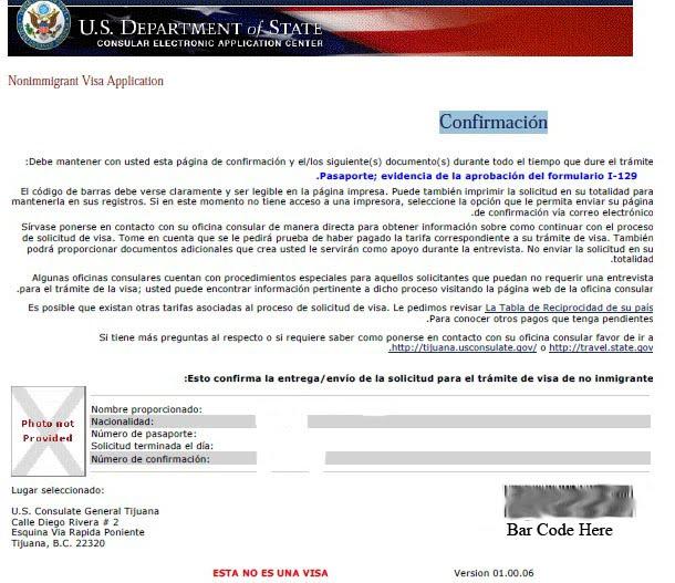 H1B Visa Stamping In Tijuana: Sample DS-160 Confirmation
