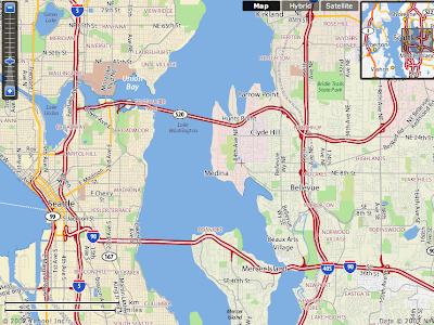 Yahoo map of Seattle area