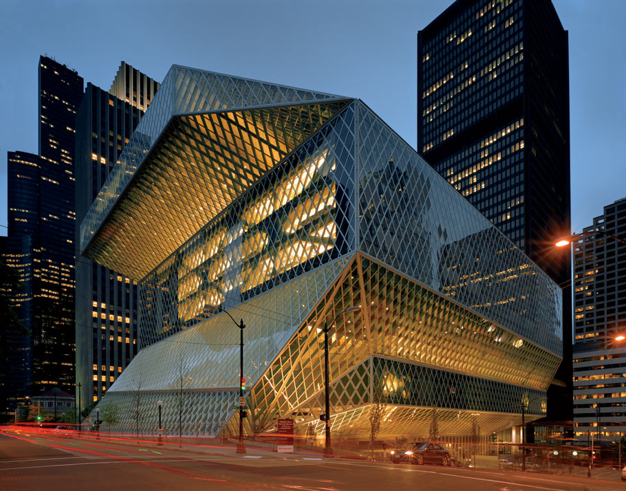 architecture seattle architect rem koolhaas library buildings 21st century usa 2004 architectural building famous architects structure structures modern central libraries