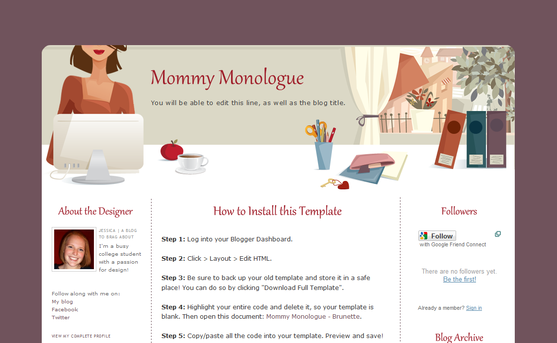 mommy connection  cute mom blogger templates
