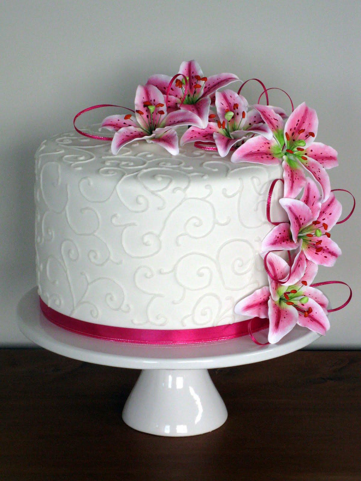 Sweet Bites Cakes Pink Lily Wedding Cake