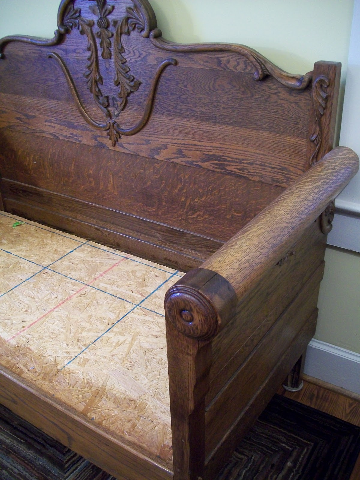 Antique Bed Stool: Cottage Hill: TV Tray & Loveseat Redo