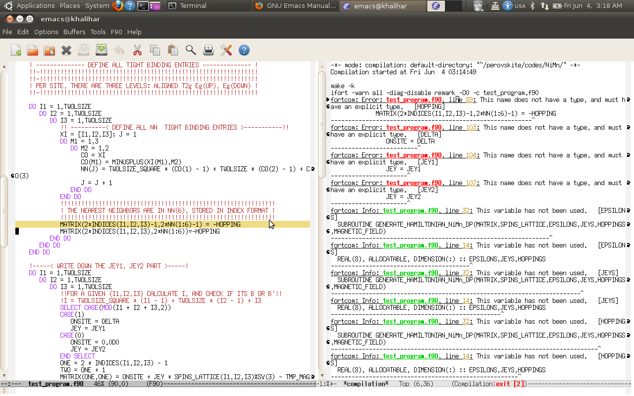 fortran compilation within emacs: emacs + make = awesome