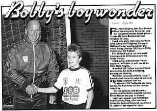 young David Beckham and Bobby Charlton