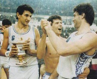 Fernando Romay, Drazen Petrovic y Fernando Martin
