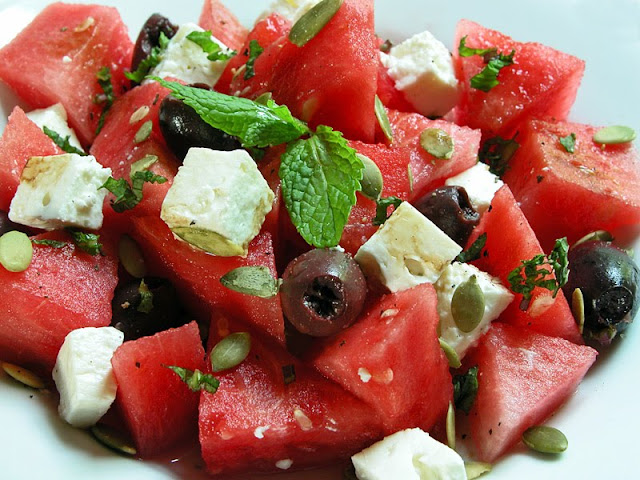cooking weekends watermelon and feta salad. Black Bedroom Furniture Sets. Home Design Ideas