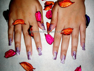 beautiful purple silver nail art sticker on hands