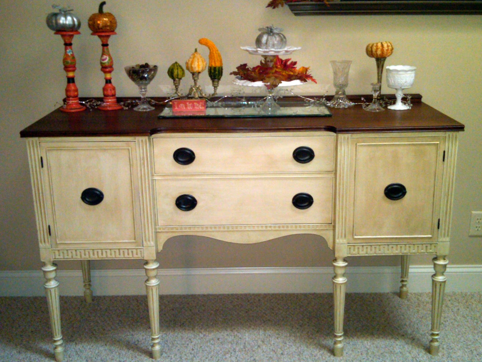 remodelaholic white buffet table with wood top - White Buffet Table