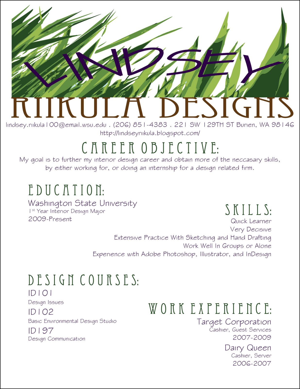 Resume Samples For Architecture Graduates Interior Design Designer