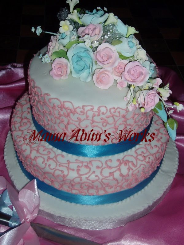 wedding cakes blue and pink mamaabim s lacy pink with blue ribbon wedding cake 23910