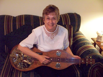 Carletta with her instrument.
