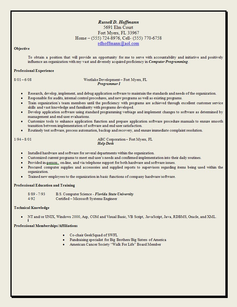 Traditional Resume Template Cover Letter