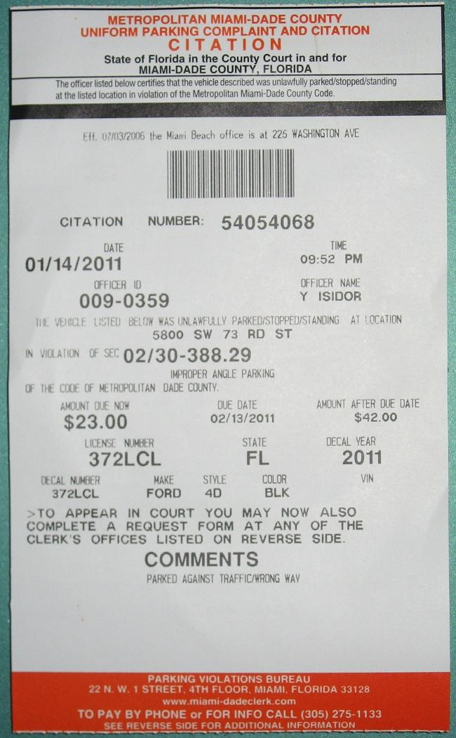 Miami dade motor vehicle tickets for Motor vehicle ticket payment