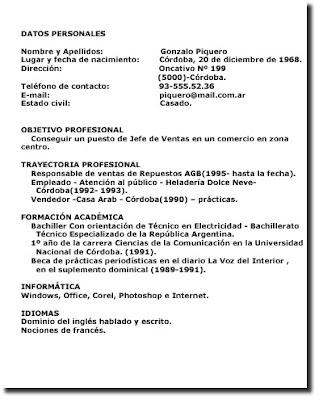 Practicas De Lengua Y Literatura Ejemplos De Curriculum Vitae