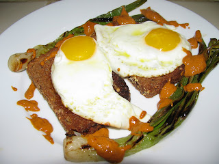 spring onions w romesco and fried egg