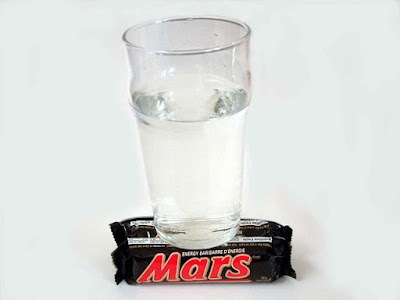 photo of a glass of water on a Mars bar