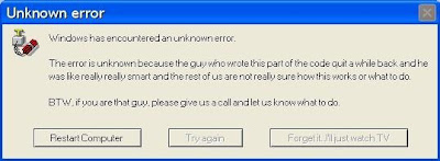 image of an unknown error message on computer