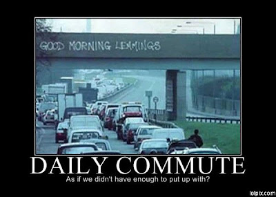 funny photo of a morning commute