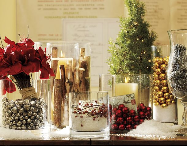 Gorgeous Holiday Centerpieces Made From Various Wide and Tall Cylinder Vases