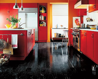 kitchen decor red cabinets black floor