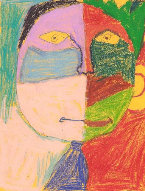 Calm Side / Wild Side Self Portraits for Kids