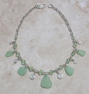 Handmade sea glass necklace with seafoam green sea glass by Out Of The Blue Seaglass Jewelry