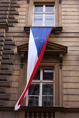 Prague - Czech flag on Liberation Day